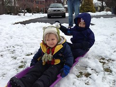 Dominic and Anthony Sledding
