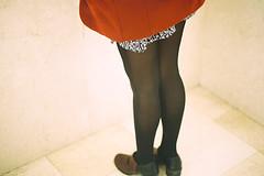 dreamgirl (holding onto gravity) Tags: red film girl analog 35mm shoes fuji dress minolta legs coat minoltax700 heels fujifilm filmcamera stocking x700 proplus proplusii