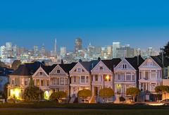 Alamo Square - Painted Ladies at Night (andreaskoeberl) Tags: sanfrancisco california city longexposure travel blue urban house tourism car northerncalifornia night dark lights nikon cityscape trails illuminated fullhouse paintedladies alamosquare d800 2470 2470f28 nikond800