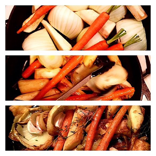 Roasted fennel with carrots, garlic, parsnips, and onion. — with @niederme