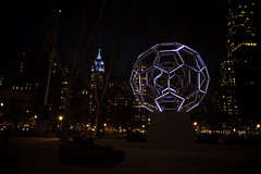 Madison Square Park (messyrican) Tags: sculpture art ball geometry tubes illuminated led mathematics empirestatebuilding hexagons geodesic spheres bucky 2012 buckyball leovillareal pentagons fullerene 2013 madisonsquareart