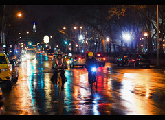 And the night is yours alone. (Explored) (Linh H. Nguyen) Tags: life street urban newyork cars wet colors rain night reflections chinatown bokeh headlights biker explored rokkorx5014 nex7