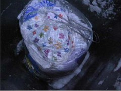 snowbag1 (muckyclothes) Tags: christmas panties trash bag garbage clothes plastic rubbish jd crush carrier dustbin raincoats clearout