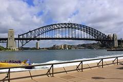 Sydney Harbour Bridge (oxfordblues84) Tags: bridge blue sky water clouds boat au sydney australia nsw newsouthwales jornutzon sydneyharbour sydneyoperahouse sydneyharbourbridge bennelongpoint thunderjet thecoathanger ovearuppartners