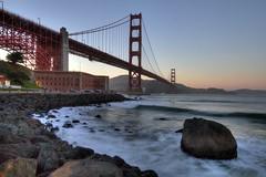 The Golden Gate at Dusk (Andrew E. Larsen) Tags: sanfrancisco sunset water surf waves dusk smooth goldengatebridge goldengate sanfran papalars silkeffect gentlesun gentlesky andrewlarsenphotography