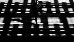 Loop Girl (Crazy Ivory) Tags: blackandwhite bw woman usa sun sunlight chicago girl lines america subway daylight us illinois pattern shadows loop sunny structure il sw amerika grumpy schwarz harsh weis canon70200mmf4lusm harshshadows canoneos5dmarkii 5d2