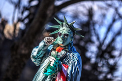Lady Liberty (Samantha Decker) Tags: nyc newyorkcity photoshop canon eos costume bokeh centralpark manhattan adobe statueofliberty 6d cs6 canonef135mmf2lusm sdny samanthadecker