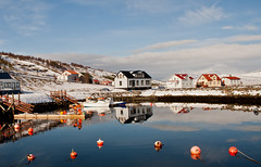 Village Hjalteyri (joningic) Tags: houses sea sky house reflection nature harbour eyjafjrur hjalteyri