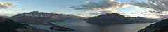 Last Rays: Queenstown Bay (wawrus) Tags: sunset newzealand panorama lake mountains water clouds boats island bay south nz otago queenstown inlet bobspeak hugin