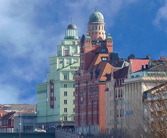 At St Eriksbron, Stockholm (Olof S) Tags: city wallpaper sky urban house building wall architecture landscape photography landscapes town photo interesting construction nikon scenery europe cityscape view sweden stockholm schweden edificio ciudad swedish stadt coolpix nordic sverige scandinavia btiment gebude suede suecia senso kungsholmen svezia cupole szwecja s6300