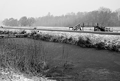 Sneeuwbui (Pieter ( PPoot )) Tags: blackandwhite bw zwartwit sneeuw brug loopbrug sneeuwbui dewieden