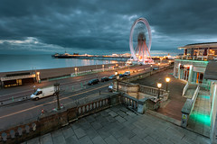 Twilight Zone (Slawek Staszczuk) Tags: uk sea england urban seascape clouds landscape sussex pier seaside twilight brighton cityscape cloudy britain wideangle seafront eastsussex palacepier brightoneye