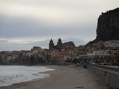 Old town and La Rocca from the beach, Cefal, Italy (Paul McClure DC) Tags: sea italy scenery mediterranean italia cathedral sicily duomo sicilia cefal tyrrhenian feb2013