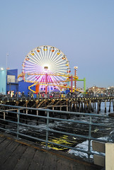 all of the lights (hellobeckyy) Tags: california santa beach colors lights pier waves carousel monica boardwalk
