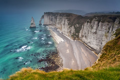 The big plunge in the fog (Mathieu Rivrin - Photographies) Tags: ocean sea cliff mer france fog lee normandie transparent polarizer normandy plage brouillard tretat haute mathieu falaises arche galets aiguille polarisant belleval rivrin