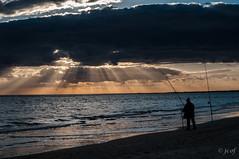 Pescador. (jcof) Tags: beach color contraluz lanscape naranja ocas orange paisaje pescador playa puntaumbria refejos reflections summertime sunset verano