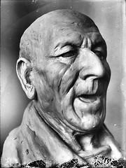 Mystery Man Vintage Glass Plate Portrait (fstop186) Tags: male mystery portrait head mould black white damage dust glass slide mask olympus omd em1 olympusmzuiko60mmf28macro vintage