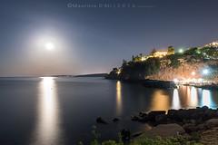 The light side of the moon (Maurizio ) Tags: moon sea night longexposure d810 nikkor sicily
