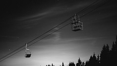 Tears of St Lawrence (camiladellnogues) Tags: chair chairlift blackandwhite monochrome outdoor ski mount seymour provincial park meteor shower vancouver bc canada nikond7200 d7200 nikon sky trees contrast stars