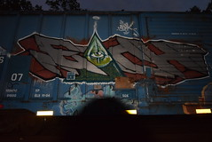 EACH SOAK combo (TheGraffitiHunters) Tags: graffiti graff spray paint street art colorful freight train tracks benching benched each soak floater eye illuminati boxcar