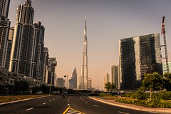 Path to the tallest one.. (Robie..) Tags: tallestbuilding sunset dubaiincredible burjkhalifa nikond750 vacation road lines