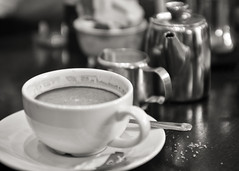 Coffee break (Martzimages) Tags: coffee cafe sugar bokeh dof martzimages blackandwhite mono