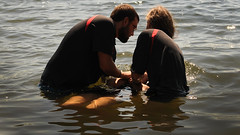 Leaving Your Old Life Behind (Poocher7(Away until September,sometime)) Tags: baptised baptism baptismbyimmersion river prayer love forgiven forgiveness freedom free repentance receive water sunny sparkles ripples portrait candid people beard peace jesus christian expressionoffaith ontario canada