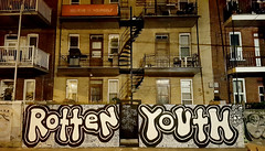 Rotten Youth (Exile on Ontario St) Tags: rottenyouth graffiti montreal balconies balcons apartment building believeinyourself montral mileend balcony mile end streetart believe yourself urban art urbain street complexe rsidentiel residential appartements appartement apartments outdoor staircases external stairs escaliers colimaon escalier twisted twist winding write writing tags backstreet parking stationnement saintlaurent stlaurent