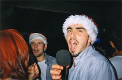 Christmas party (Gary Kinsman) Tags: hampsteadstudentcampus hampstead childshill nw3 kidderporeavenue london 2001 film kingscollegelondon kcl hallsofresidence studentcampus students university fun youth young party christmasparty candid unposed sing singing flash