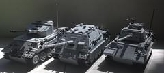 The Three Panthers (-PanzerGrenadier1-) Tags: lego ww2 tanks afv panther panzerkampfwagen v coelian jagdpanther ausf g flakpanzer