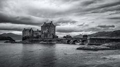 Eilean Donan Castle Monochrome (roseysnapper) Tags: bw canoneos40d eileandonancastle lochalsh lochduich lochlong sigma1020 blackandwhite highlands scotland cloud landscape monochrome water