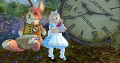 Roccaletta in Wonderland  (Roccatetta ) Tags: clock time rabbit dress blue kid avatar child tale wonderland firestorm secondlife