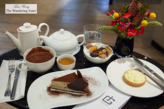 Our spread of pastries (basil lemon tart and chestnut chocolate cake) and hot beverages (thewanderingeater) Tags: jacquesgenin paris france patisserie confectioner 3rdarrondissment teahouse