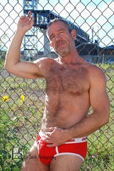 Francisco (Levi Smith Photography) Tags: underwear red hairy muscle shirtless biceps daddy handsome hot buff train station sunflowers hair armpit beard sexy