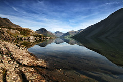 Reflections Of Wasdale (nigelhunter) Tags: wast water wasdale lake distruct mountain great gable kirke fell scafell yewbarrow cumbria sky clouds reflection screes britains favourite view