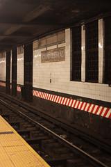 Down the Tracks (lefeber) Tags: newyork newyorkcity nyc city urban architecture building interior grandcentralterminal subwaystation traintracks railroadtracks platform underground mosaic grates angles vanishingpoint perspective
