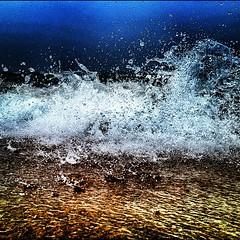 """PureMichigan"" shot with an iPhone 4S at Lake Michigan. (MattsLens) Tags: blue summer storm beach wet water coast drops sand waves ripple lakemichigan sparkle"