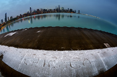 The Eye (Brian Koprowski) Tags: winter lake snow chicago reflection water skyline idea illinois downtown pentax sears text january lakemichigan greatlakes fisheye hancock trump aon willis secondcity adlerplanetarium windycity chicagoist 1017mm pentaxk5 briankoprowski bkoprowski