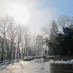 A drive from fog to sun (Rosmarie Wirz) Tags: italy snow fog trafficlight december shadows citylife stop townscape bergamo baretrees wetstreet winterimpression blinkagain carsinaqueue fromfogtosun firstsunbreakingthrough greenforpedestrians