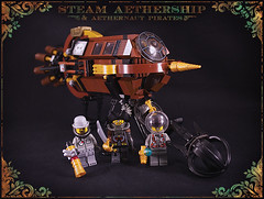 Pirate aethership & crew (captainsmog) Tags: wood rivets lego gear steam claw pirate copper guns spaceship steampunk moc aether