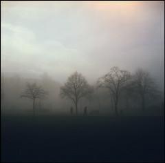 Figures in the Fog (Regular Rod) Tags: winter people 120 6x6 film fog walking evening derbyshire peakdistrict zeissikon ikonta e6 bakewell ysplix agfarolleicr200pro