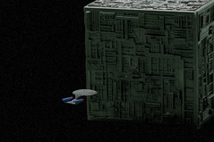 We Have Engaged The Borg (King_of_Games) Tags: startrek ship borg spaceship enterprise startrekthenextgeneration starship micromachines 1701 borgcube enterprised willking qwho willbking