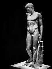 Sculpture of a victorious athlete 1st century CE Roman period after lost 430 BCE original by Polykleitos with Topaz Black and White Oil Painting Effects Applied (mharrsch) Tags: sculpture male statue youth oregon portland greek roman victory athlete britishmuseum topaz portlandartmuseum 1stcenturyce 5thcenturybce polykleitos bodybeautiful mharrsch