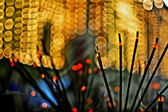 Joss Sticks (Kanishke Ganewatte Photography) Tags: temple bokeh sri lanka kalaniya