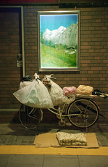 Homeless person's bicycle, Otemachi (View Master 187) Tags: japan zeiss gold tokyo kodak 1940 super contax ii 400 carl ikon sonnar opton 50f15