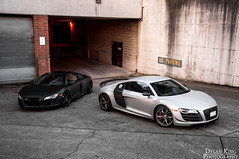 Audi R8 Duo (Dylan King Photography) Tags: white canada black vancouver silver four gold grey lights nikon bc duo tail wheels gray wing columbia headlights led british brake trio gt audi rims v8 matte v10 carbonfiber pur r8 d90 4our