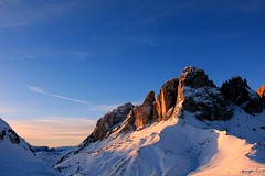 Dolomites  -         Today's Explore at #95 (claudiophoto) Tags: winter sunset italy sun snow mountains alps montagne italia tramonto ngc unesco explore neve getty rocce alpi trentino dolomites italianalps dolomiti monti dolomiten greatimage blinkagain