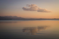 One cloud ~ EXPLORE (dorena-wm) Tags: light sunset sky cloud mountain lake reflection nature berg bayern bavaria see evening abend licht sonnenuntergang natur himmel wolke august explore spiegelung chiemsee 2012 refl