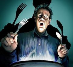 miedo a la comida / fear of food (Rafael Edwards) Tags: food illustration dinner photobooth fear comida cartoon horror terror radioactive radioactivity dibujo miedo ilustracion radioactividad