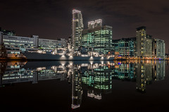 HMS Lancaster at Canary Wharf (Scott Baldock Photography) Tags: reflection london station wall skyscraper marina reflections boat dock poplar ship south navy royal quay queens lancaster docklands marsh pan frigate canarywharf peninsula e14 hms f229 d7000 battlebattle